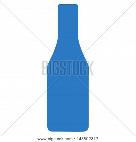 Beer Bottle icon. Glyph style is flat iconic symbol, smooth blue color, white background.