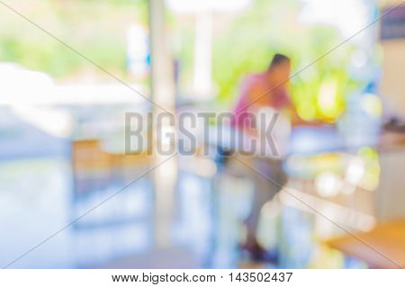 Blur Image Of Coffee Shop With Bokeh