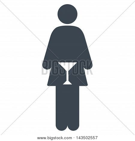 WC Woman icon. Glyph style is flat iconic symbol, smooth blue color, white background.