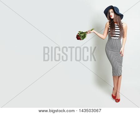 Glamorous Woman with Roses on white Background