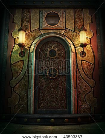 3d computer graphics of a vault door in Steampunk style