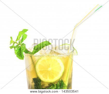 Fresh mojito cocktail isolated over white. Horizontal.