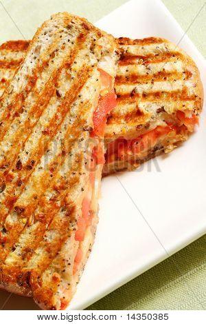 Sándwich de queso y tomate a la parrilla en un plato blanco contra mantel verde pálido.