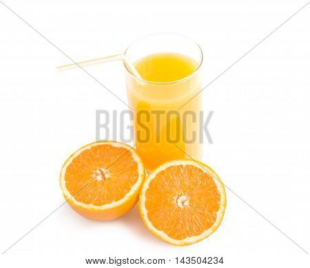 Glass of orange juice with halves of fresh orange isolated over white. Healthy nutrition concept.