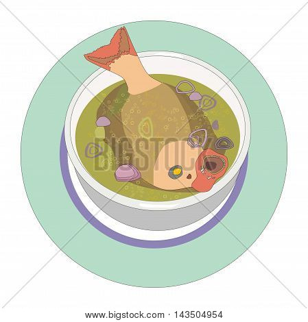 Illustration of a bowl of fish soup whole tropical fish