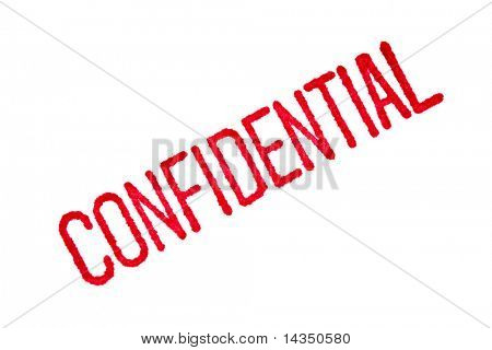 "Closeup of a red ""confidential"" stamp on white paper, with the red ink bleeding into the paper."