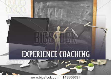Experience coaching concept. Comfortable workplace with modern computer