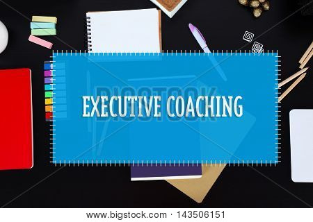 Office set with stationery and notebooks on a table. Executive coaching concept