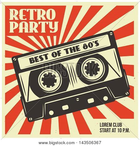 Retro party advertising with audio cassette. Old school poster design. Vector vintage illustration.