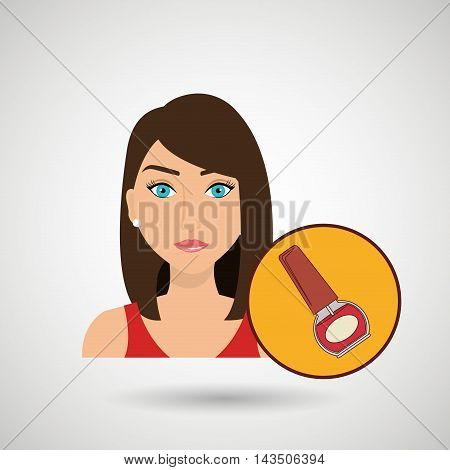 woman cosmetic nail stylist vector illustration design