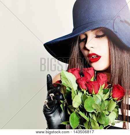 Nice Girl. Beautiful Woman with Rose Flowers. Women's Sweet Dreams
