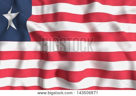 3d rendering of Liberia country flag waving