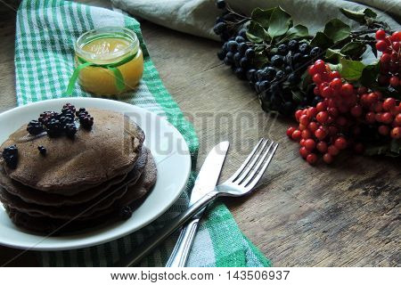 Chocolate American Pancakes And Berries