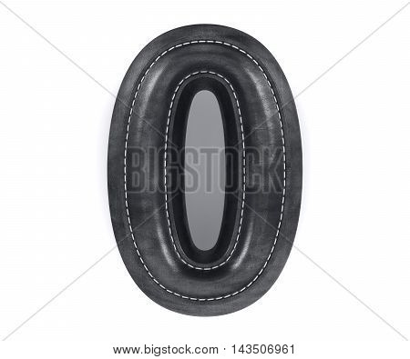 Leather Black Texture Letter Digit Number Zero 0