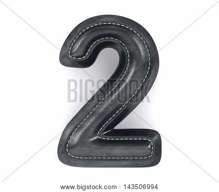 Leather Black Texture Letter Digit Number Two 2