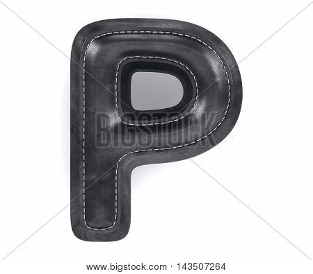 Black Leather Skin Texture Capital Letter P