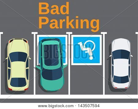 Bad parking. Illustration of a car parked in the wrong parking for disabled. Cars top view. Vector illustration in flat design