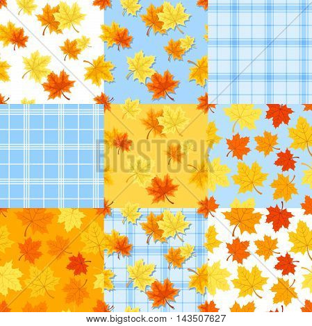 Vector set of nine autumn seamless patterns with red, orange and yellow maple leaves on white and blue.