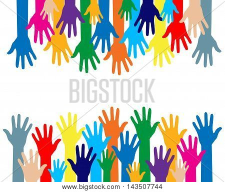 colorful silhouette hands over white background. Creative template Vector illustration.