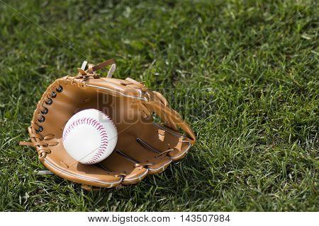 Baseball glove and ball on grass background.