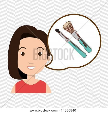 woman make up brush vector illustration design
