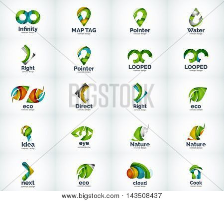 Set of abstract vector company business logo icons popular web concepts