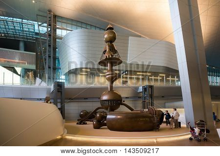 Doha, Qatar - June 9, 2016: Interior Of Hamad International Airport In Doha, Qatar. Base Airport Are