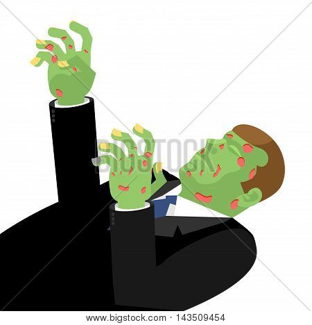 Zombie With Outstretched Hands Isolated. Green Is Dead. Cadaverous Skin Spots. Risen Dead Man Hand H