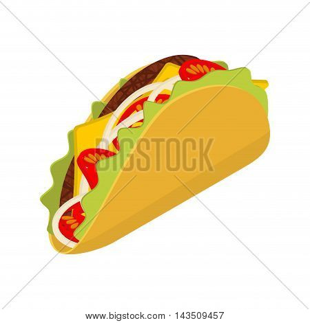 Taco Isometrics On White Background. Traditional Mexican Food. Tortilla Chips And Onion. Tomato And