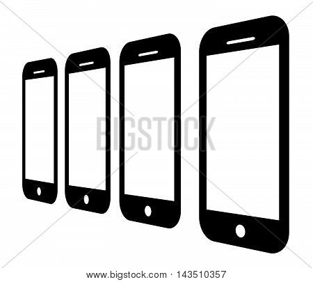 Mobile phone with a blank screen.Vector illustration.Smartphone icon.