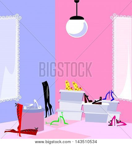 pink and blue abstract shop and a lot of shoes and boots