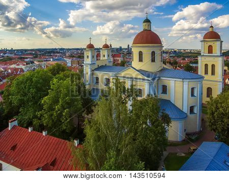 AERIAL. Old Town in Vilnius, Lithuania: Orthodox Church and monastery of the Holy Spirit, Lithuanian: Staciatikiu sv. Dvasios cerkve ir vienuolynas