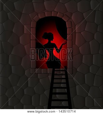 stone wall and dark window with silhouette of abstract lady
