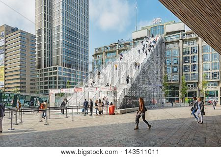Rotterdam, The Netherlands - May 26: from mid-May to mid-June a temporary new landmark: a giant staircase with 180 steps from the stationsquare to the roof of the Groothandelsgebouw, Rotterdam The Netherlands - May 26, 2016