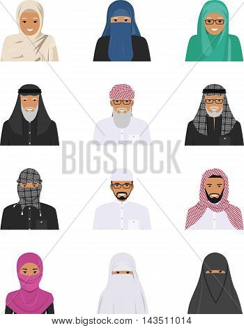 Detailed illustration of different arab people avatars icons set in the traditional national muslim arabic clothing isolated on white background in flat style.