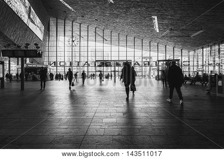 Rotterdam, Netherlands - May 26: Picture of the hall with travelers  in the Central Station Rotterdam, taken May 26, 2016 in Rotterdam, Netherlands.