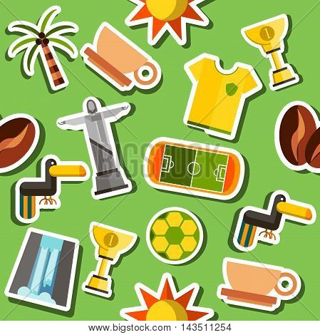 Brazil Flat collage Travel and tourism concept. Brazil collage. Vector illustration