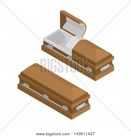 Coffin Isometrics. Wooden Casket For Burial. Open And Closed Hearse. Religious Illustration