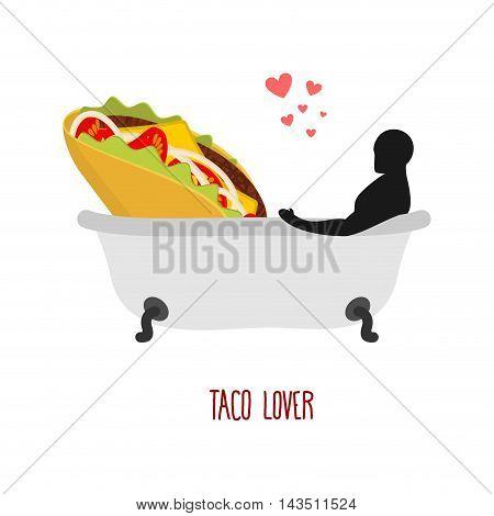 Lover Taco. I Love Food. Fastfood And Man In Bath. Man And Mexican Food Is Taking Bath. Joint Bathin