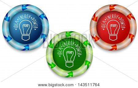 Three icons with color back light and bulb