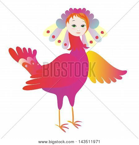 Magic bird Sirin. Myth creature. Vector illustration.