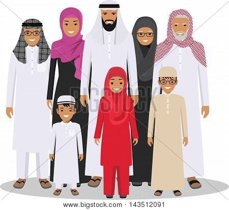 All age group of arab man family. Generations man. Arab people father, mother, grandmother, grandfather, son and daughter, standing together in traditional islamic clothes. Social concept. Family concept.