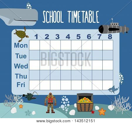 Timetable. School Schedule On Underwater World. Days Of Week. Sked For Students. Shark And Whale. Di