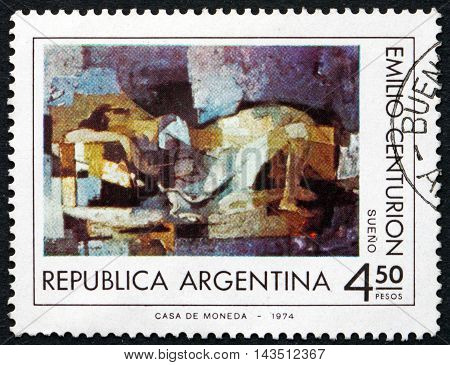 ARGENTINA - CIRCA 1975: a stamp printed in the Argentina shows Dream by Emilio Centurion Painting circa 1975