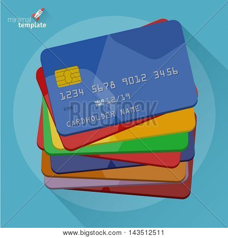 Set of color credit cards icon. Vector flat design mock up.