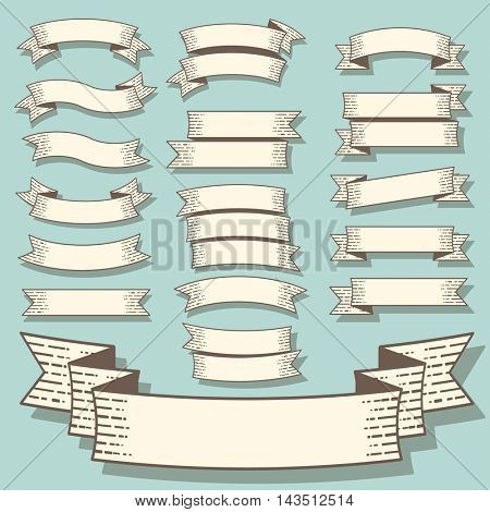 Vector set of retro vintage engraving style flat design banners an ribbons.