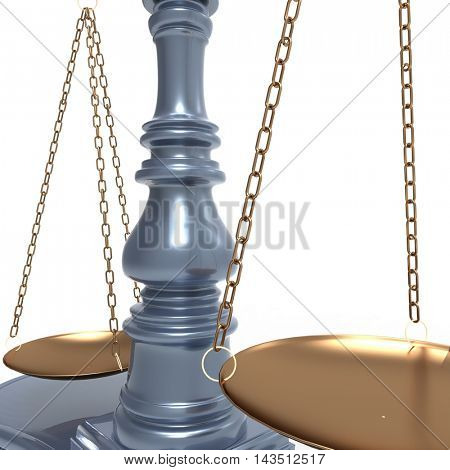 Gold scales of justice isolated on white background 3d illustration