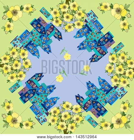 Summer day. Card with beautiful town surrounded by beautiful flowers. Bandana print or silk neck scarf. Kerchief square pattern design style for print on fabric. Vector illustration.
