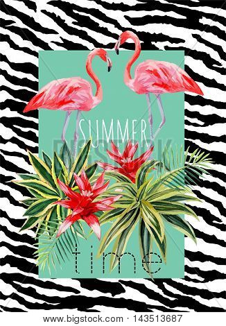 Exotic tropic bird pink flamingo with palm leaves and plant flower agave hand drawn watercolor. Print trendy flower vector illustration poster with the slogan summer time. Background of a zebra skin