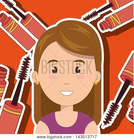 woman make up brush vector illustration graphic